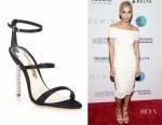 Zoe Kravitz's Sophia Webster Rosalind crystal-heel satin sandals