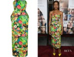 Naomie Harris' Rosie Assoulin Floral Print Strapless Dress