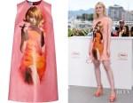 Elle Fanning's Prada Printed Coated-Cotton Mini Dress