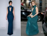 Jennifer Lopez attends a friends wedding with A-Rod in a teal Hamel gown