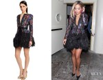 Rita Ora's Elie Saab Feather Trimmed Embroidered Dress