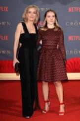 Gillian Anderson in Galvan and her daughter Piper Maru Klotz