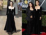 Natalie Portman In Christian Dior Couture & America Ferrera In Christian Siriano - 2018 Golden Globe Awards