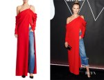Natasha Poly's Monse Cowl-Sleeve Silk Gown