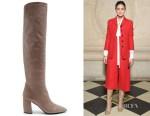 Olivia Palermo's Prada Point-Toe Leather Knee-High Boots