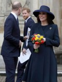 Prince William, Duke of Cambridge and Catherine, Duchess of Cambridge with Prince Harry leave after attending the Commonwealth Service at Westminster Abbey on March 12, 2018 in London, England.