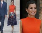 Queen Letizia of Spain In Hugo Boss & Carolina Herrera - Almudaina Royal Palace