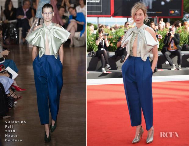Alba Rohrwacher In Valentino Haute Couture - 'My Brilliant Friend' (L'Amica Geniale) Venice Film Festival Premiere