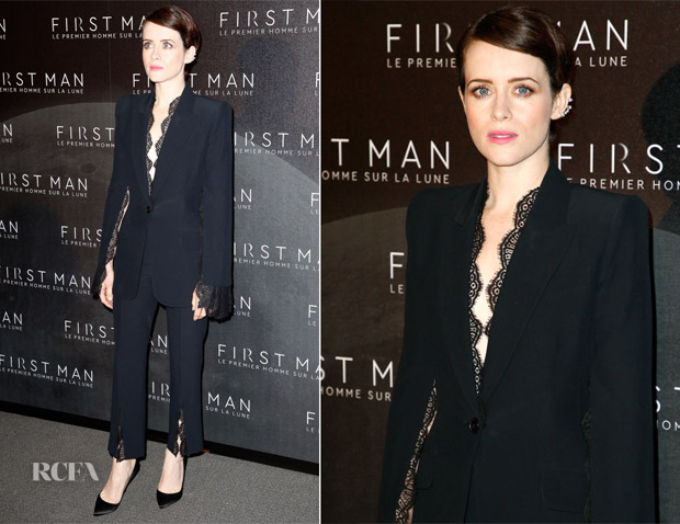 Claire Foy In Alexander McQueen - 'First Man' Paris Premiere