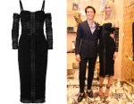 Claudia Schiffer's Dolce & Gabanna Cold-Shoulder Lace-Up Dress