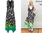 Dakota Fanning's Prada Asymmetric Printed Midi Dress