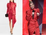 Hailey Baldwin's Alexandre Vauthier Asymmetric Polka-Dot Dress