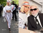 Nicki Minaj Rocks FENDI MANIA To The Spring 2019 Show