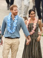 Prince Harry, Duke of Sussex and Meghan, Duchess of Sussex talk to members of OneWave, an awareness group for mental health and wellbeing at South Bondi Beach