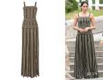 Meghan, Duchess of Sussex Martin Grant Pleated Stripe Dress