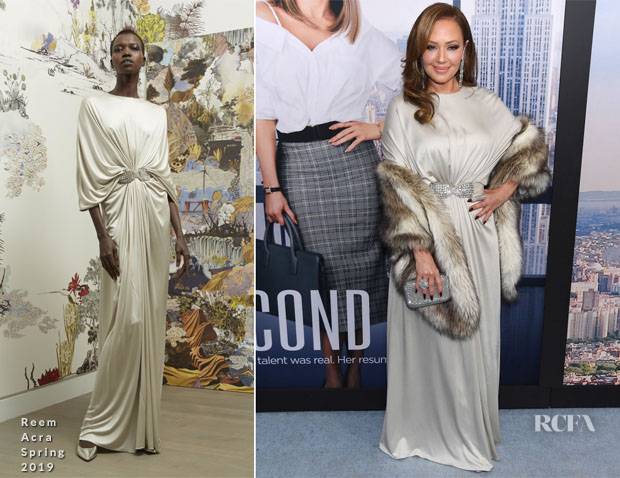 Fashion Blogger Catherine Kallon features Leah Remini In Reem Acra - 'Second Act' New York Premiere