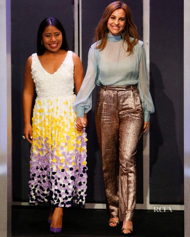 Fashion Blogger Catherine Kallon features Yalitza Aparicio Martínez In Novis & Marina De Tavira In Alberta Ferretti - Jimmy Kimmel Live