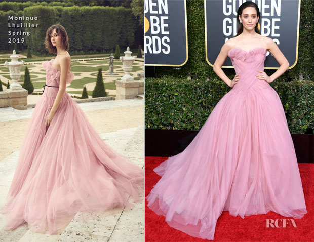 Fashion Blogger Catherine Kallon features Emmy Rossum In Monique Lhuillier - 2019 Golden Globe Awards