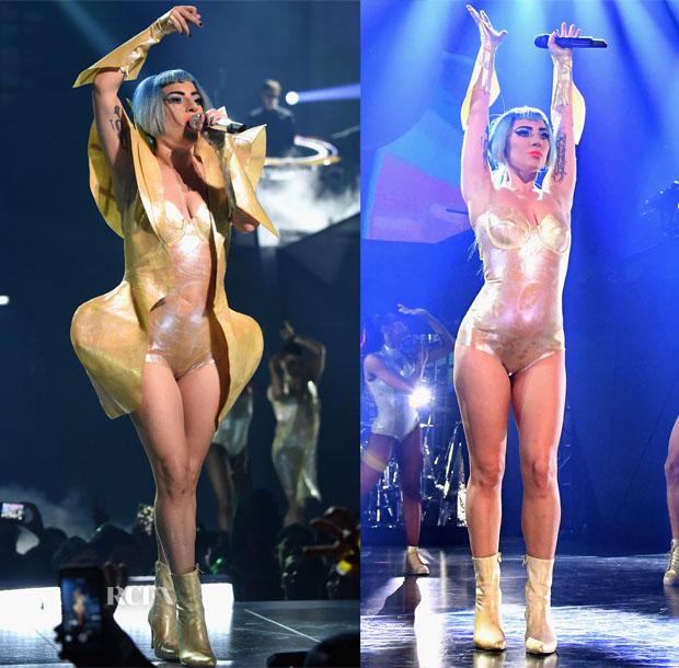 Fashion Blogger Catherine Kallon Features Lady Gaga rocks custom Vex Latex at the Enigma Show in Las Vegas