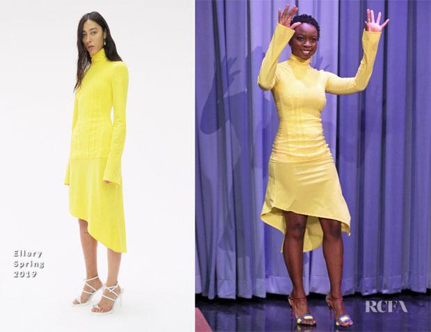 Fashion Blogger Catherine Kallon features Danai Gurira In Ellery - The Tonight Show Starring Jimmy Fallon