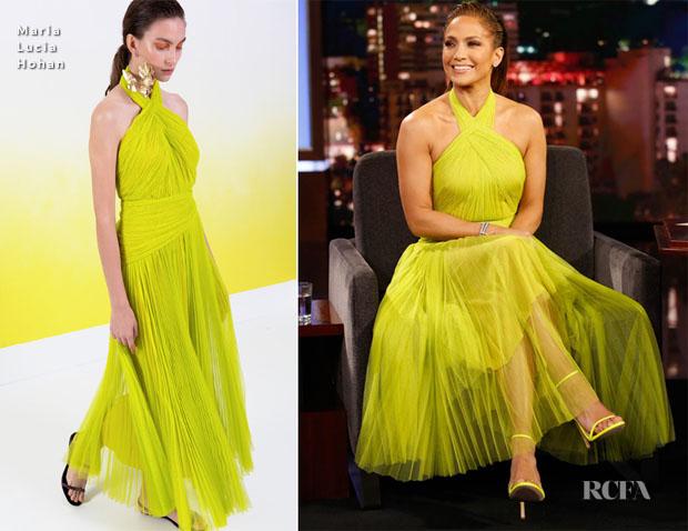 Fashion Blogger Catherine Kallon features Jennifer Lopez In Maria Lucia Hohan - Jimmy Kimmel Live!