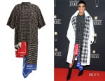 Monica's Balenciaga Scarf-Panelled Striped Cotton Shirtdress