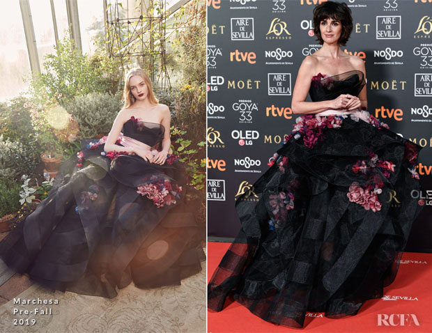 Fashion Blogger Catherine Kallon features Paz Vega In Marchesa - 2019 Goya Awards