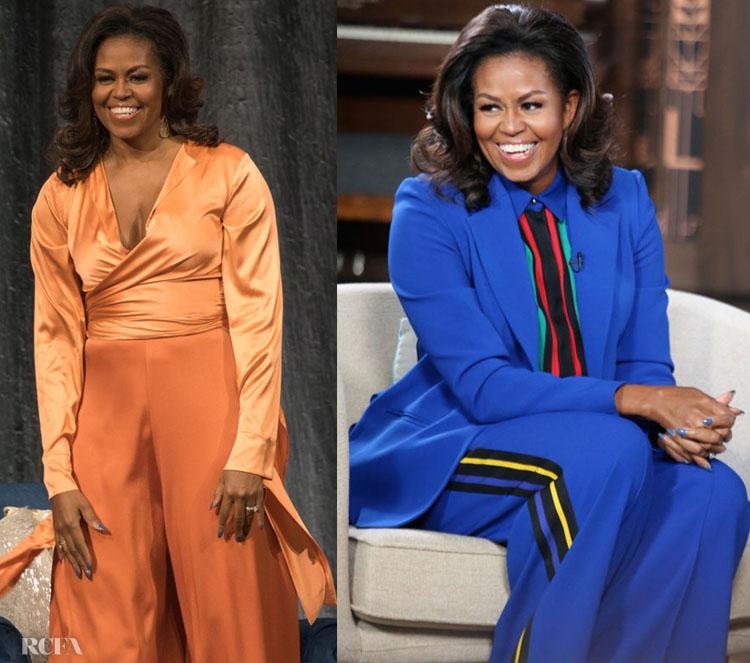 Michelle Obama In Fe Noel & Elie Saab - 'Becoming' Tour & 'BookTube'