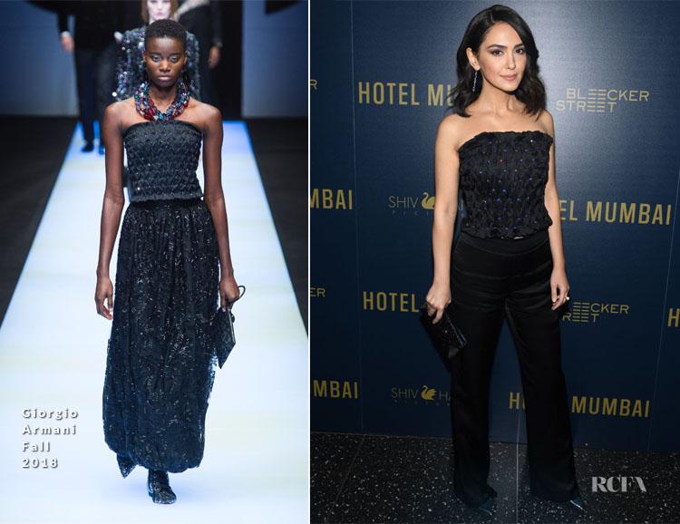 Nazanin Boniadi In Giorgio Armani - 'Hotel Mumbai' New York Screening