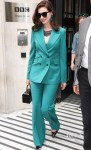 Anne Hathaway Suits Up For 'The Hustle' at BBC Radio Two