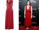 Claire Foy's Valentino Pleated Leather Maxi Dress