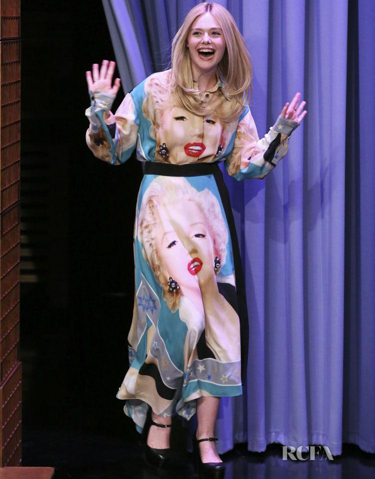Elle Fanning In Loewe - The Tonight Show Starring Jimmy Fallon