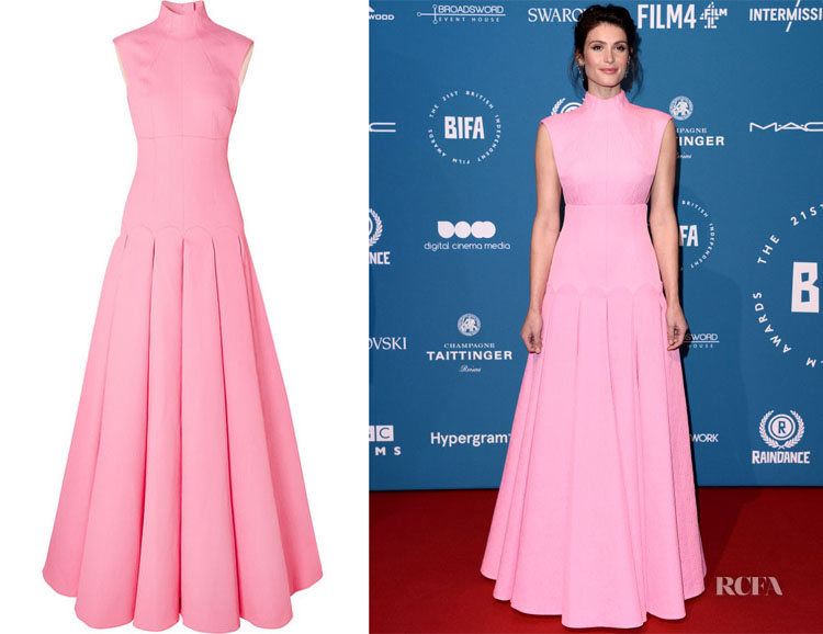 Gemma Arterton's Emilia Wickstead Kingsley Open-Back Cloqué Gown