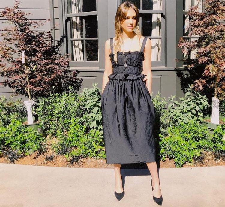 Jessica Alba Is Back In Black Promoting 'LA's Finest'