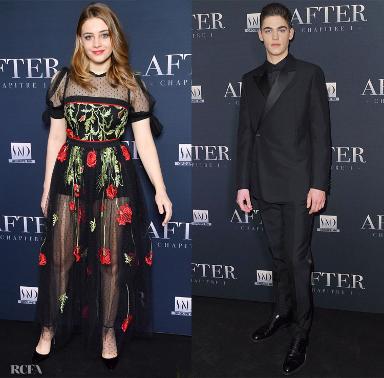 Josephine Langford In Elie Saab & Hero Fiennes-Tiffin In Dior Men - 'After' Paris Screening