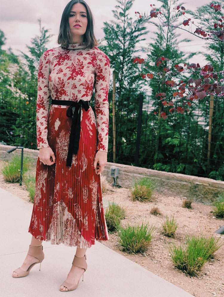 Mandy Moore Supports The Eddie Bauer's Why I Hike Campaign In Red Valentino