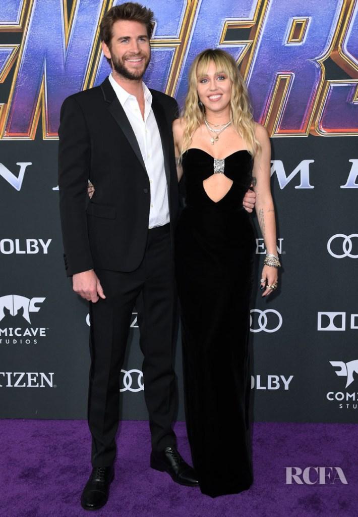 Miley Cyrus and Liam Hemsworth Match In Black Saint Laurent For The 'Avengers: Endgame' LA Premiere