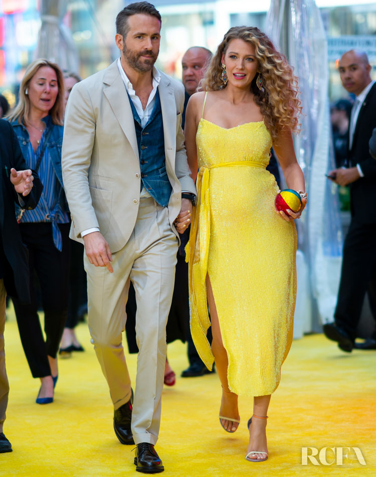 Blake Lively Debuts Her Baby Bump In Pokeman Yellow for the 'Pokeman Detective Pikachu' New York Premiere