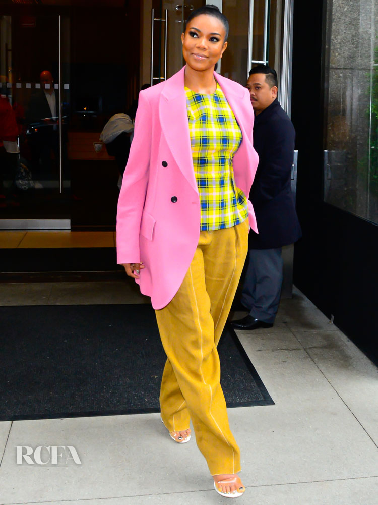 Gabrielle Union Keeps The Plaid Trend Going In New York City