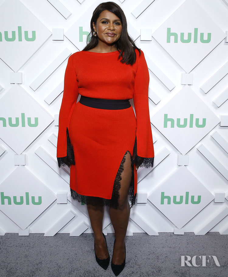 Mindy Kaling Was The Lady In Red ADEAM Fall 2018 For Hulu Upfront