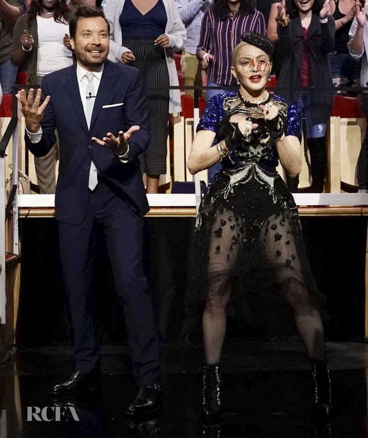 Madonna Wears Elie Saab On Jimmy Fallon