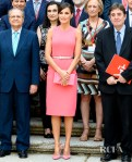 Queen Letizia of Spain's Matchy Pink Look For The Royal Monastery of San Lorenzo de El Escorial