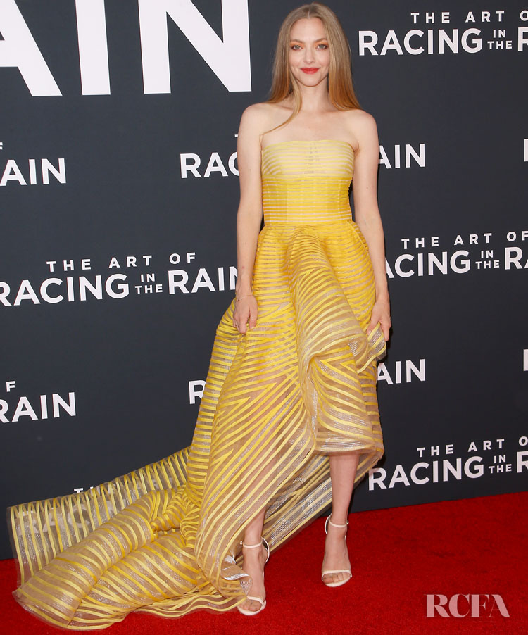Amanda Seyfried Was Summertime Chic In Yellow For 'The Art Of Racing In The Rain' LA Premiere