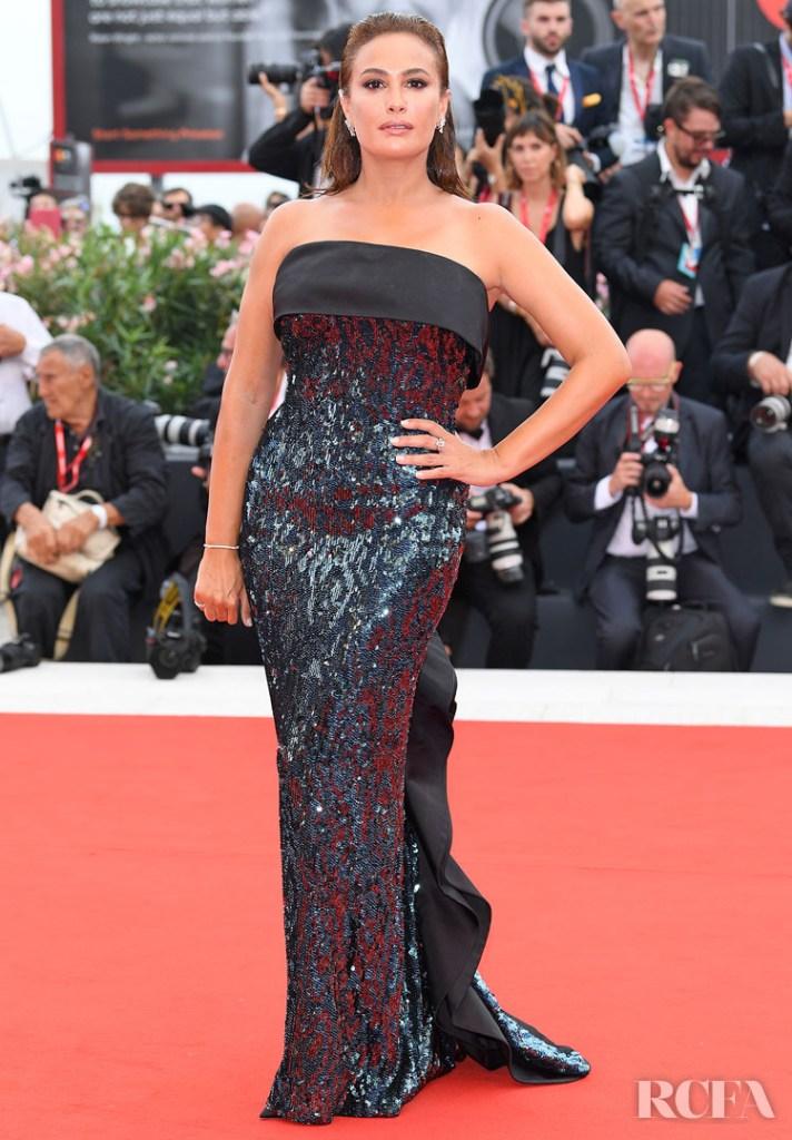 Hend Sabri (juror) in Etro custom-made dress embroidered with sequins - 'La Verite' Venice Film Festival Premiere