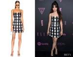 Camila Cabello's Rasario Checked Satin Mini Dress