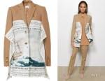 Joan Smalls' Burberry Mariner Print Scarf Detail Wool Blend Tailored Jacket