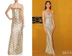 Lily Aldridge's Oscar de la Renta Golden Fan-Embellished Gown