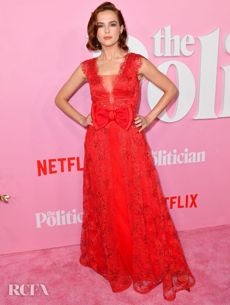 Zoey Deutch Radiant Red Rodarte For 'The Politician' New York Premiere