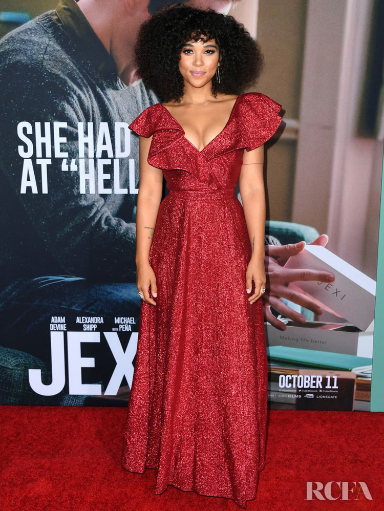 Alexandra Shipp's Festive Vika Gazinskaya Frock For The 'Jexi' LA Premiere