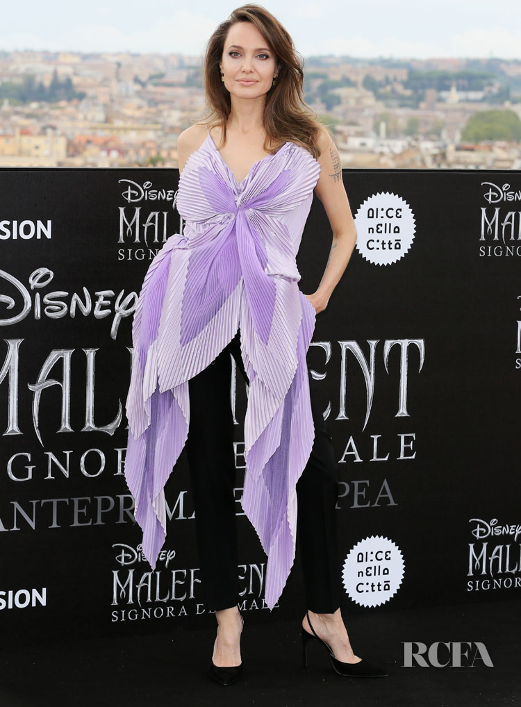 Angelina Jolie Blossoms In Givenchy Haute Couture For The 'Maleficent: Mistress Of Evil' Rome Photocall